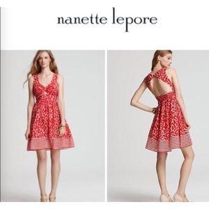 Nanette Lepore Cherry Print Tie Front Dress